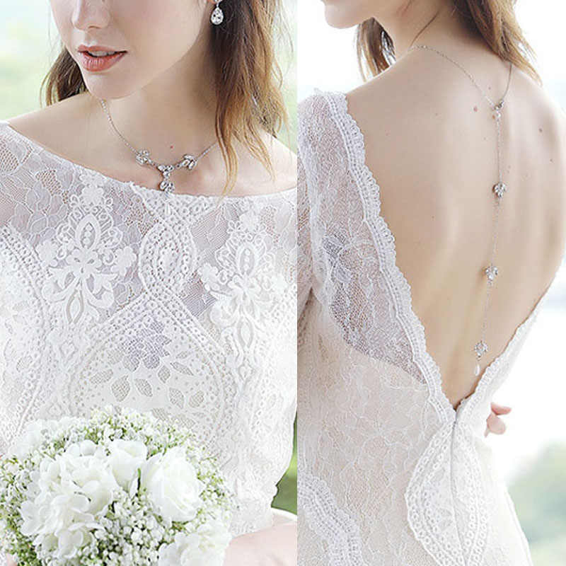Panjang Kalung Berlian Imitasi Kembali Imitasi Kalung Mutiara untuk Pernikahan Gaun Backless Pengantin Fashion Perhiasan Hadiah D88