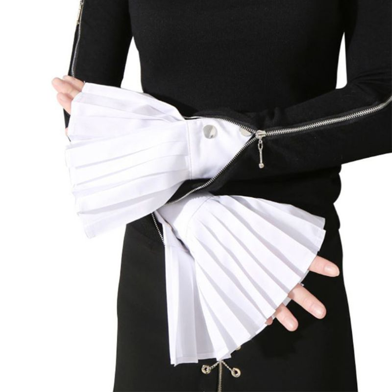 Women Decorative Pleated Fake Trumpet Sleeve Solid Color Sunscreen Flared Cuffs LX9E