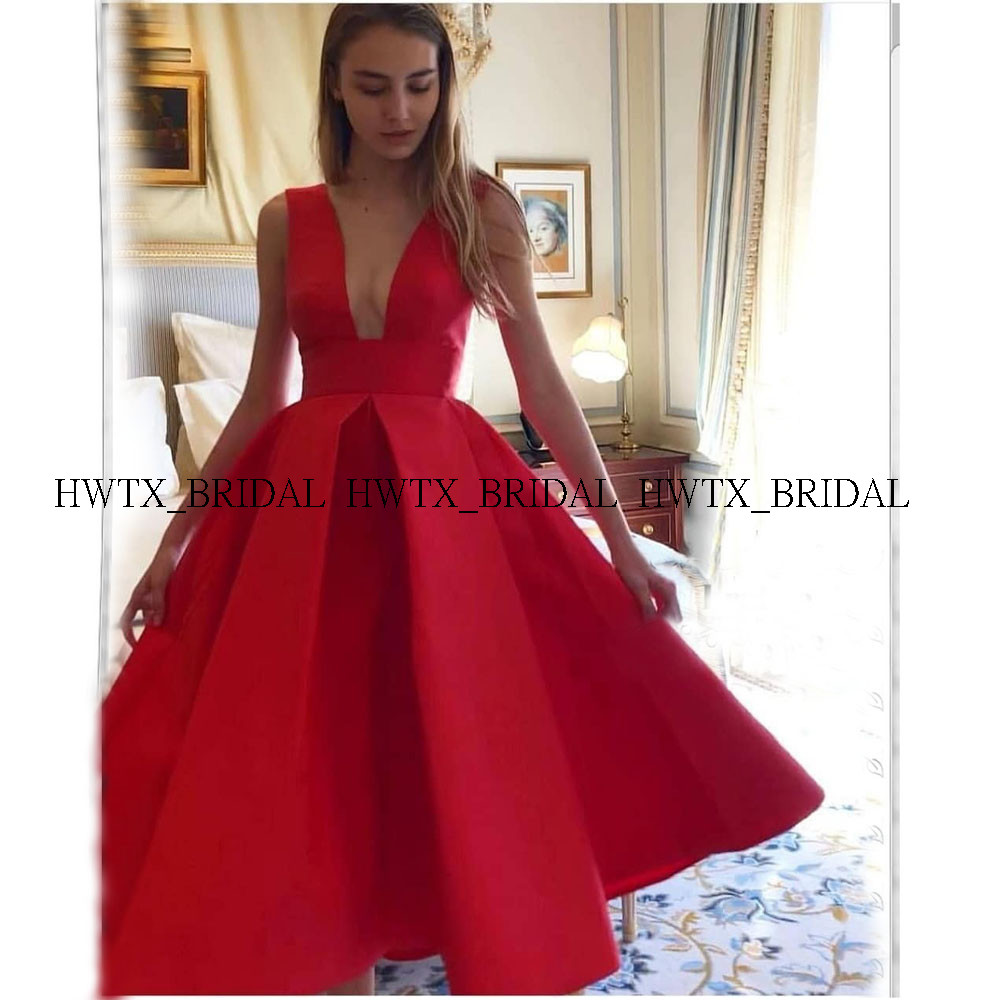 Red Short   Prom     Dresses   New 2020 Plus Size A-Line Sleeveless V-Neck Keen Length Satin   Prom     Dress   Homecoming Party Formal Gown