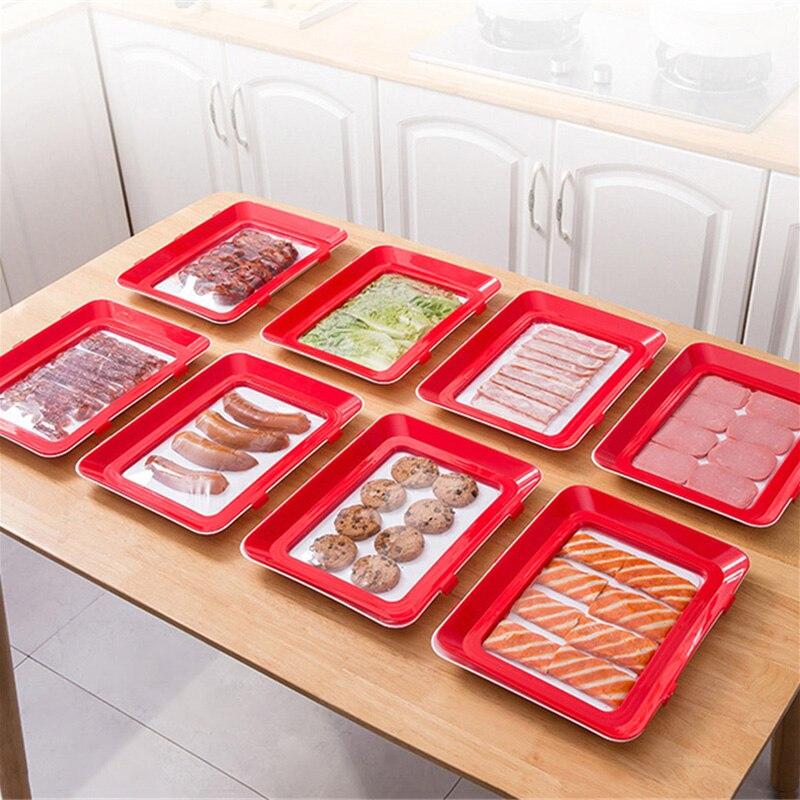 6 шт., креативный вакуумный поднос для хранения пищевых продуктов, Штабелируемый поднос для сохранения свежести, поднос для холодильника, Сервировочная тарелка для пищевых продуктов, кухонный Органайзер-3