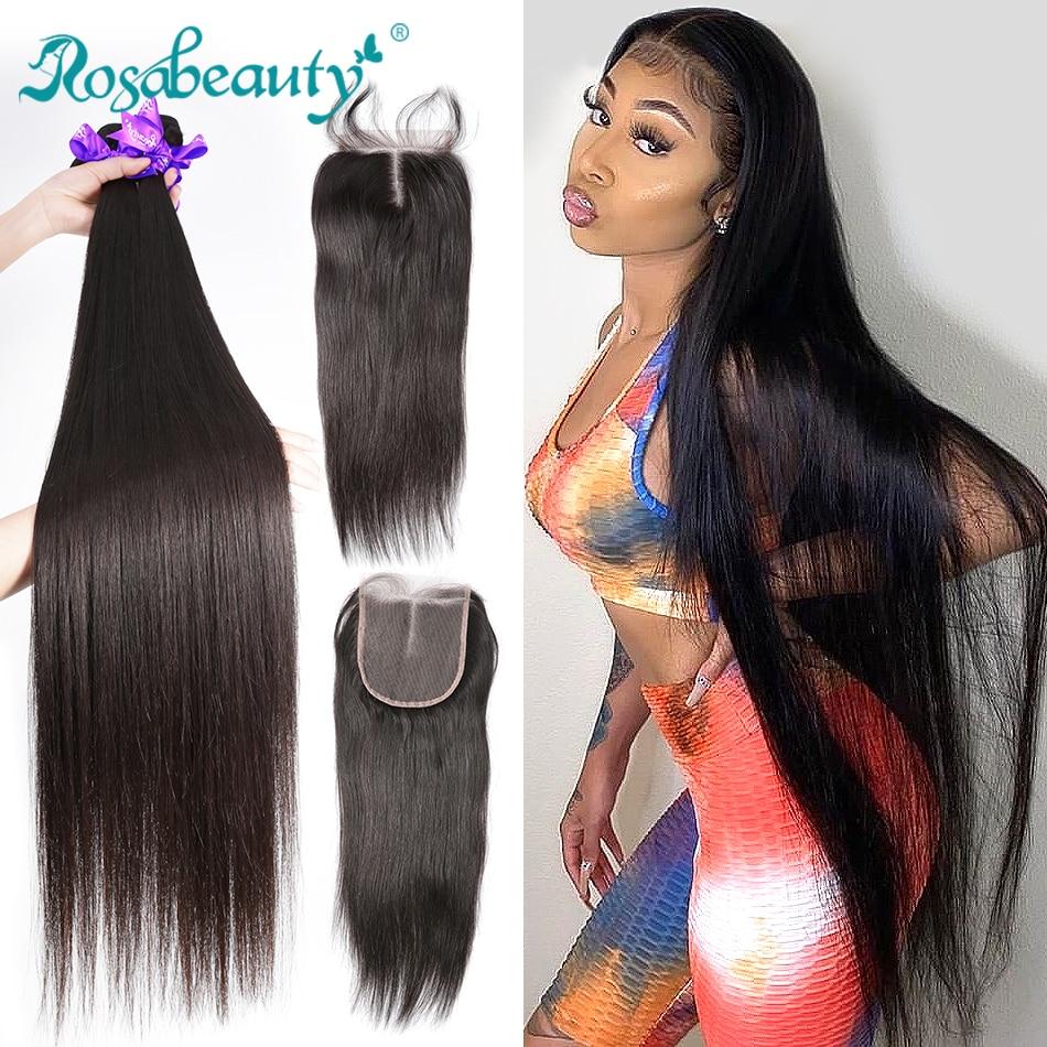 28 30 40 Polegada pacotes de cabelo peruano em linha reta 3 4 pacotes com fechamento extensões do cabelo humano onda formadores e 5x5 fechamento do laço