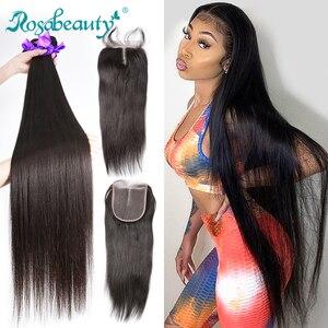 28 30 40 дюймовые перуанские волосы пряди прямые 3 4 пряди с закрытием человеческие волосы для наращивания волнистые и 5x5 кружева