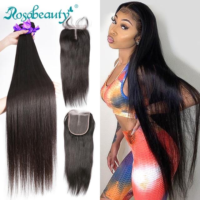 28 30 40 zoll Peruanische Haar Bundles Gerade 3 4 Bundles Mit Verschluss Menschliches Haar Extensions Welle nern und 5x5 Spitze Schließung