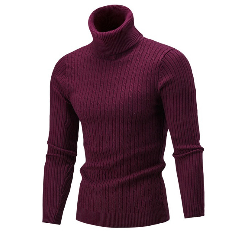 ZOGAA Warm Turtleneck Sweater Men Fashion Solid Knitted Mens Sweaters 2020Casual Cotton Male Double Collar Slim Fit Pullover
