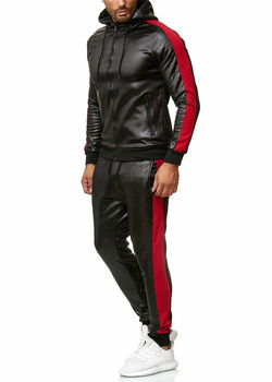 2020Popular Autumn And Winter new Men patchwork leather Clothing hooded PU Sports Suit Street Trend
