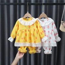 2021 Spring And Autumn Floral  Lapel Set 2-7Y  Child ren's Lace Long Sleeve Top + Wide Leg Trousers Set Children's Girl Clothes
