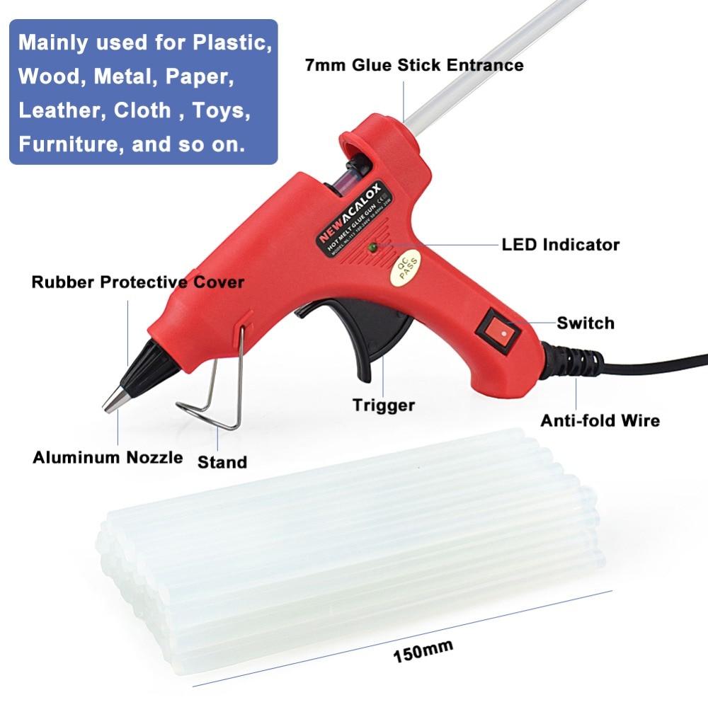 NEWACALOX 20W EU / USA mini meleg olvadású ragasztópisztoly DIY - Elektromos kéziszerszámok - Fénykép 2