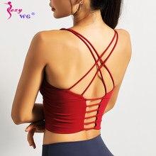 SEXYWG femmes haut de Sport gilet de course Sexy soutien-gorge de Sport à bretelles soutien-gorge de Yoga antichoc