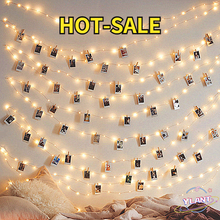Led USB Outdoor Battery Operated Garland with Clothespins for Home Decoration String Lights 2m/5m/10m Photo Clip String Lights