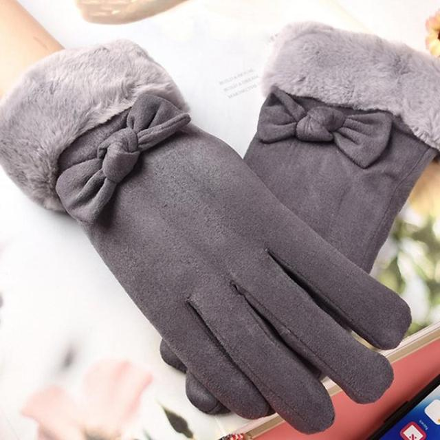 Gloves Female Autumn And Winter Warm Gloves Thick Velvet Touch Screen Bike Gloves Suede Cute Bow Gloves 3