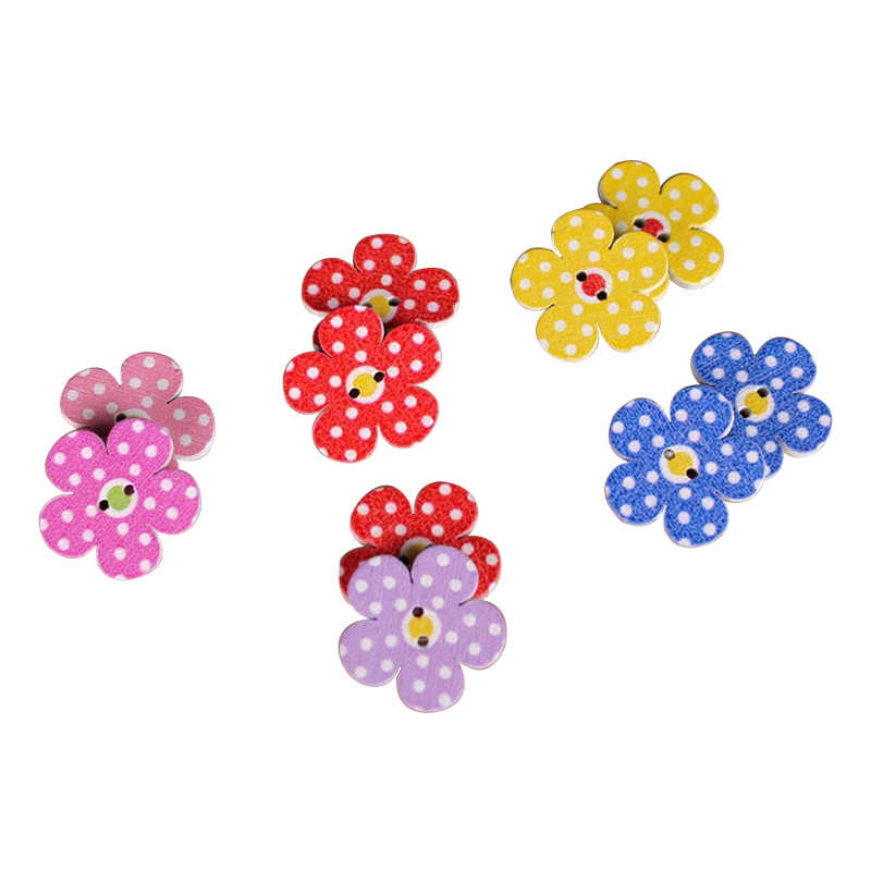 50 sztuk/partia kolorowy kwiat z kropkami malowanie ozdobne guziki do szycia odzieży drewniany przycisk do akcesoriów robótki