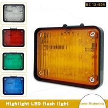 Dc 12-80v 9smd conduziu a luz de advertência do estroboscópio grade do carro piscando luz farol do caminhão perigo luz de tráfego de emergência conduziu a lâmpada urgente