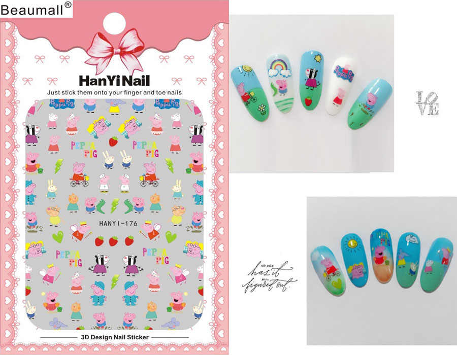 Cartoon Patterns! Nails Art Manicure Back Glue Decal Decorations Design Nail Sticker For Nails Tips Beauty