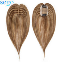 SEGO 6x9cm Human Hair Clip in Toppers For Women Non Remy Silk Base Top Hairpiece Medium Brown&Dark Blonde Straight Indian Hair