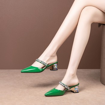 MLJUESE 2020 women slippers Soft cow leather Rome style summer crystal pointed toe green color high heels sandals party wedding