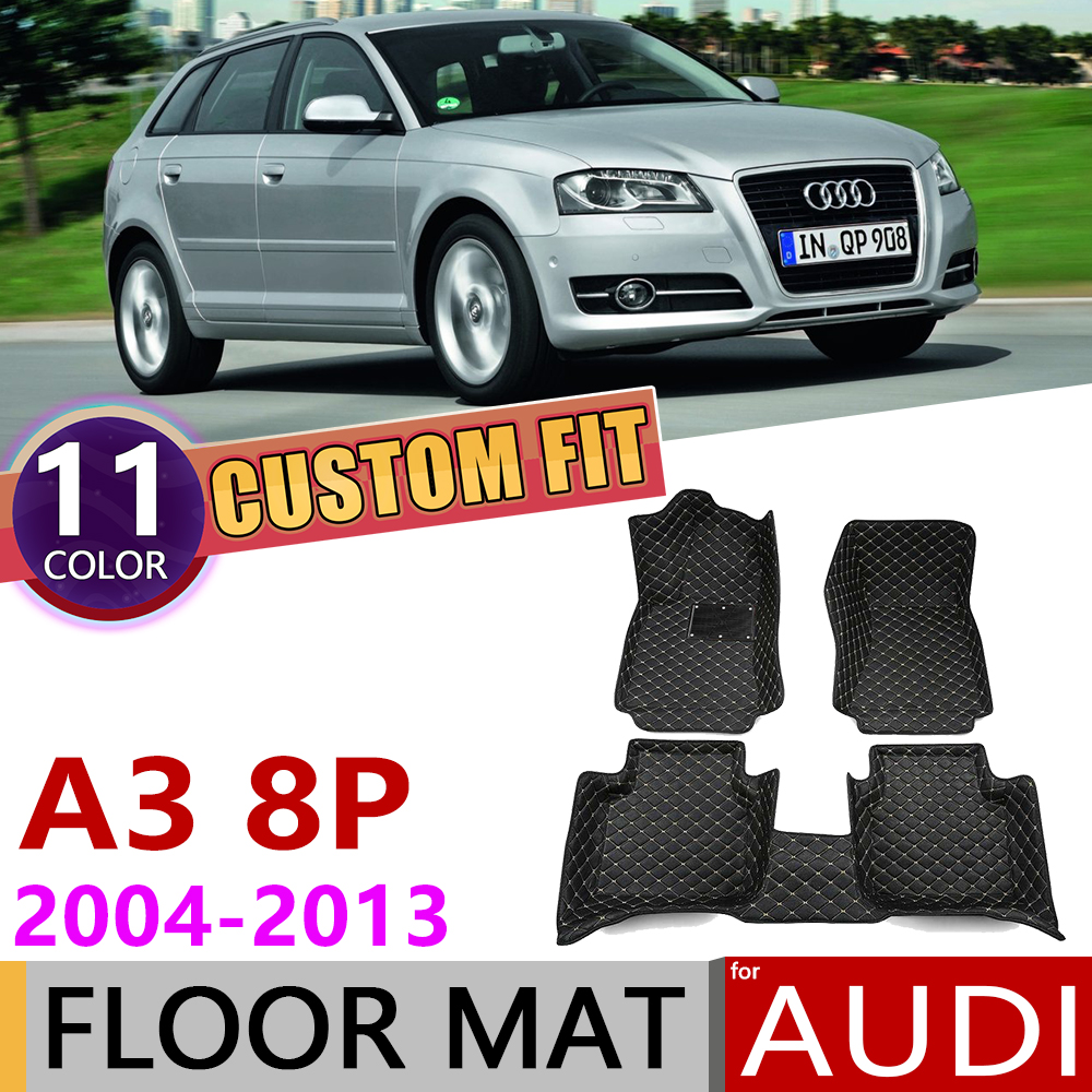 Custom Car Leather Floor Mats For Audi A3 8P Hatch 5-door 5 Seats 2004 2005 2006 2010 2012 2013 Auto Foot Pad Carpet Accessories