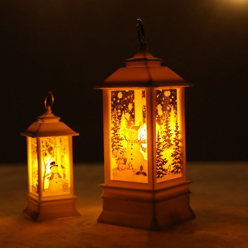 LED Simulation Oil Lamp With Candle Christmas Night Light Hanging Type Decoration Craft