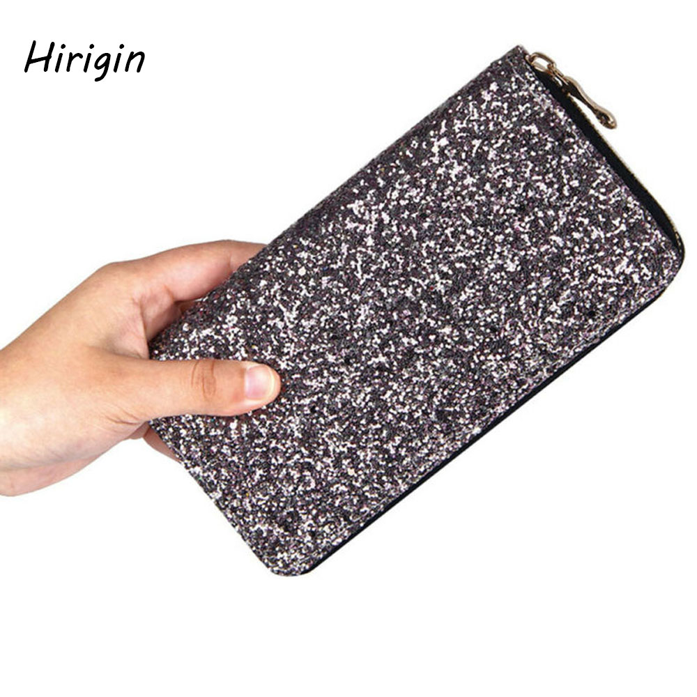 Cheaper 2020 Fashion Girls Sequined Glitter Wallet Long PU Leather Handbags Coin Purse Card Holder Wallets Wholesale Small Gifts
