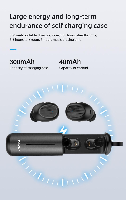 AWEI T55 TWS Wireless Earbuds Bluetooth 7