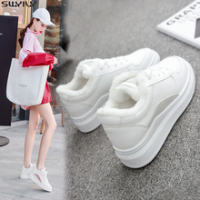 SWYIVY PU ส้นแบนรองเท้าสบายๆรองเท้ารองเท้าผ้าใบผู้หญิง 2019 ฤดูหนาวตุ๊กตาสั้นสีขาวรองเท้าผ้าใบผู้หญิงสุภาพสตรีสุภาพสตรีรองเท้า