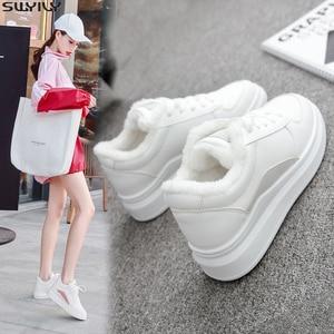 Image 1 - SWYIVY PU フラットヒールカジュアルシューズ女性スニーカー 2019 冬ショートぬいぐるみ白スニーカー女性暖かい通気性女性の靴