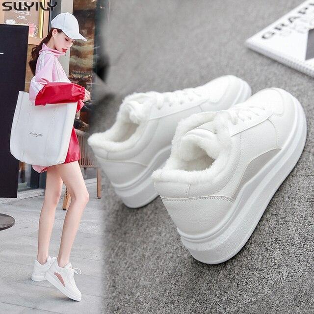 SWYIVY PU フラットヒールカジュアルシューズ女性スニーカー 2019 冬ショートぬいぐるみ白スニーカー女性暖かい通気性女性の靴