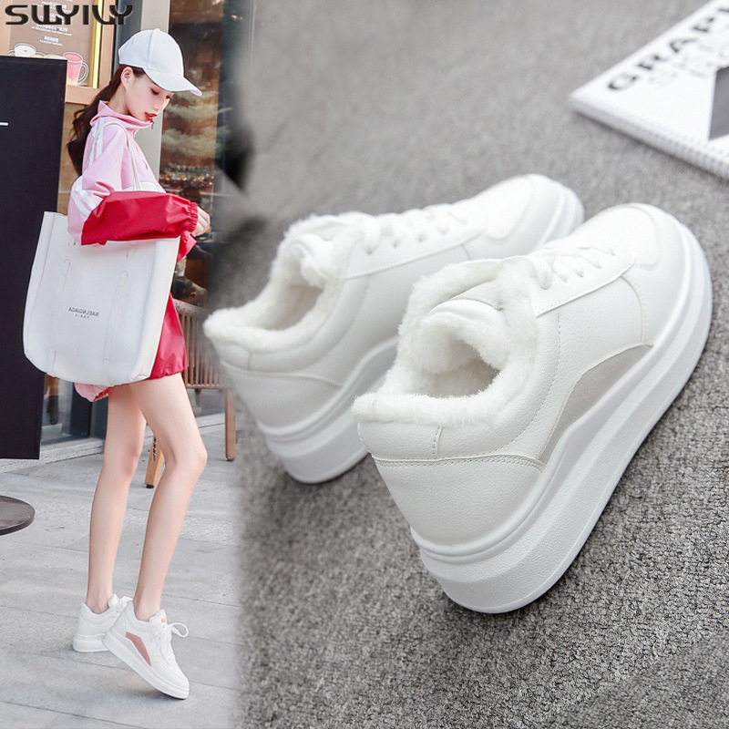 SWYIVY PU Flat Heel Casual Shoes Women Sneakers 2019 Winter Short Plush White Sneakers For Women Warm Breathable Ladies Shoe