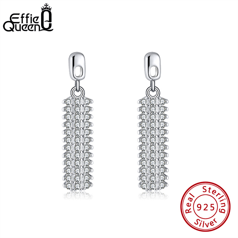 The Kiss Glittering CZ Geometric Simulated Pearl 925 Sterling Silver Dangle Earrings