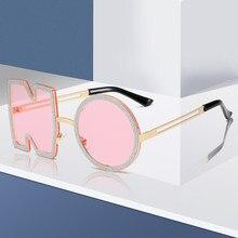 Nova moda diamante óculos de sol feminino design da marca de luxo metal carta sem óculos de sol feminino uv400 shadeseyewear óculos sol