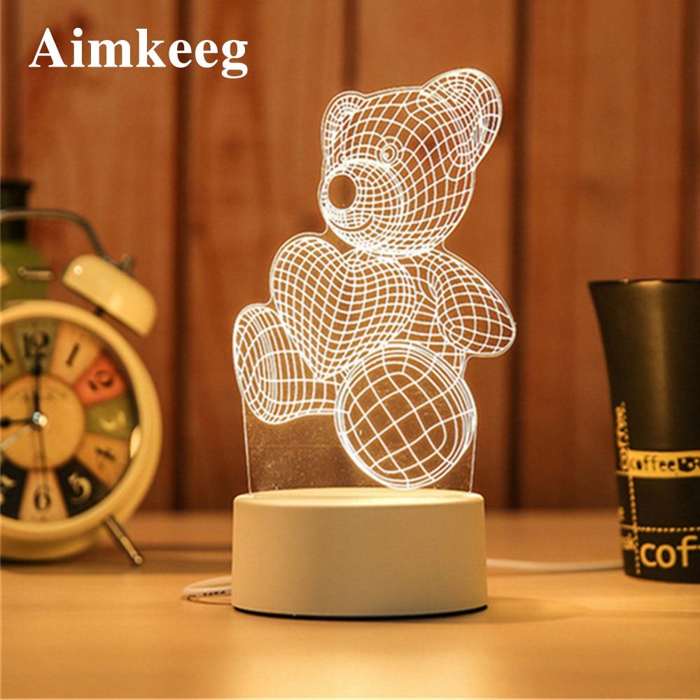 3d Led Cartoon Print Desk Lamp Novelty Illusion Night Lamp Abs+Resin Cute Night Light for Kid Christmas Gift Decorative Lamp