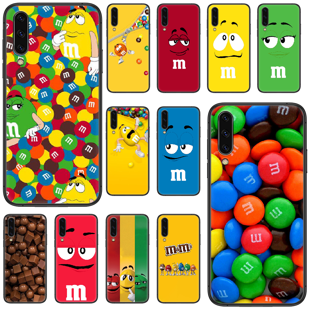 Cute MM's chocolate Phone case For <font><b>Samsung</b></font> Galaxy <font><b>A</b></font> 5 10 20 3 30 <font><b>40</b></font> 50 51 7 70 71 E S 4G 16 17 18 black <font><b>hoesjes</b></font> 3D Etui painting image