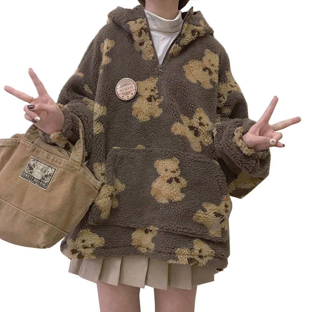 2020 зимнее пальто с искусственным мехом с капюшоном для женщин в Корейском стиле с милым медведем графические мягкая Накладка для Размеры па...
