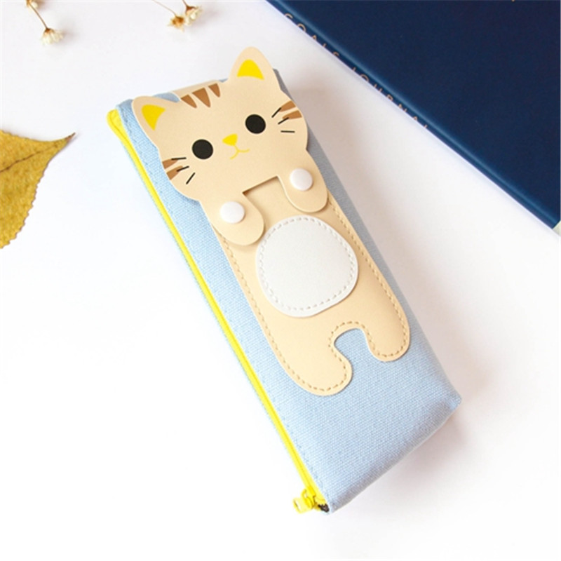 Kawaii Cute Cat Canvas Pencil Case Storage Organizer Pen Bags Pencilcase Pouch School Supply Stationery Cosmetic Makeup Bag Gift (54)
