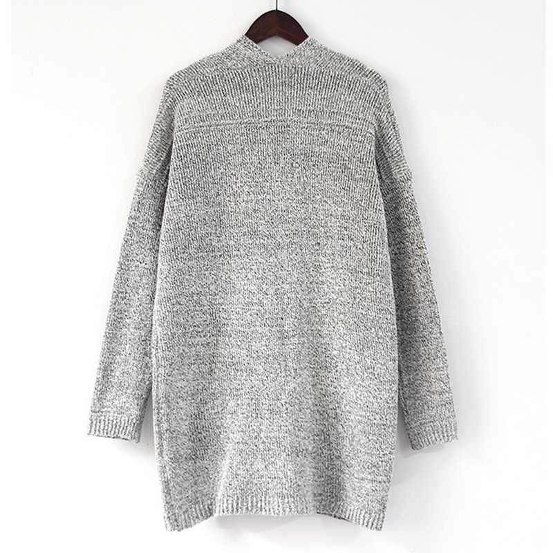 2019 אפודות צמר סוודרים מעילי אמצע ארוך שרוולים עם גדול כיסי מעיל סרוג סוודרים לסתיו וחורף