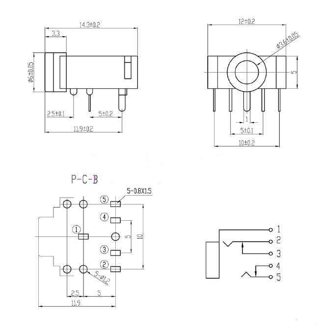 10 pièces PJ-307 PJ307 vert/rose/noir 5Pin 3.5mm prise stéréo prise Audio prise connecteur PCB 3F07 casque femelle