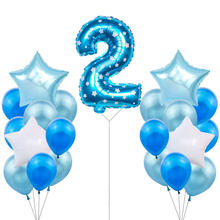 2nd Birthday Party Decoration Boy Girl 2 Birthday Balloons Number Balloon 2 Year Old Kids Two Birthday Party Supplies 53D(China)