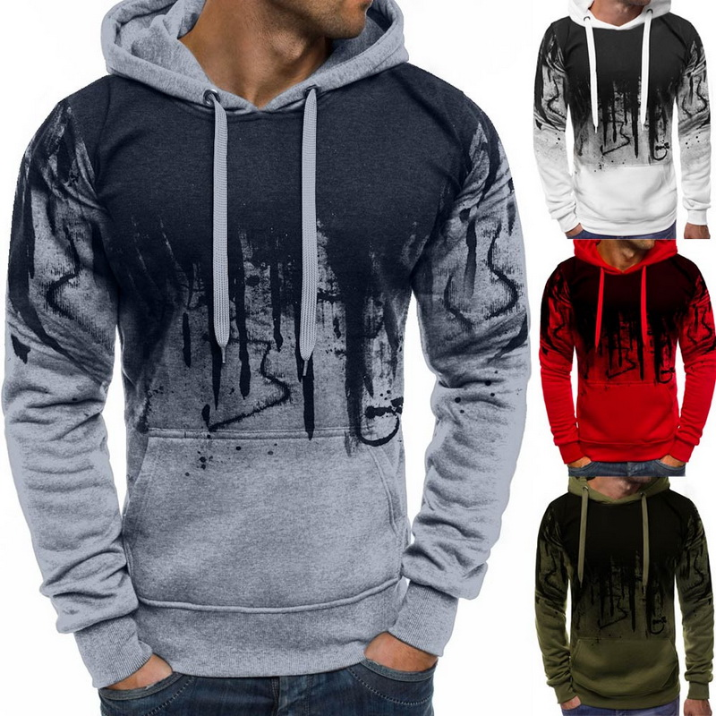 Puimentiua Autumn Winter Hooded Sweatshirts Brands Men Print Pullover Sweatshirt Male Casual Long Sleeve Sudaderas Hombre