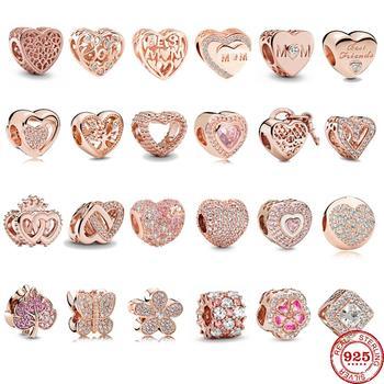 925 стерлингового серебра розовое золото цветок Дерево Сердце Кулон DIY ювелирные украшения, драгоценные бусины, подходят к оригинальным браслетам Pandora, брелоки, Женские Ювелирные изделия|Бусины|   | АлиЭкспресс