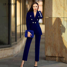 2019 New Winter Ladies Suit Dark Blue Long-Sleeved Jacket And Pants 2 Pieces Two-Piece Deep V-Neck Crystal Diamond Buckle Set(China)