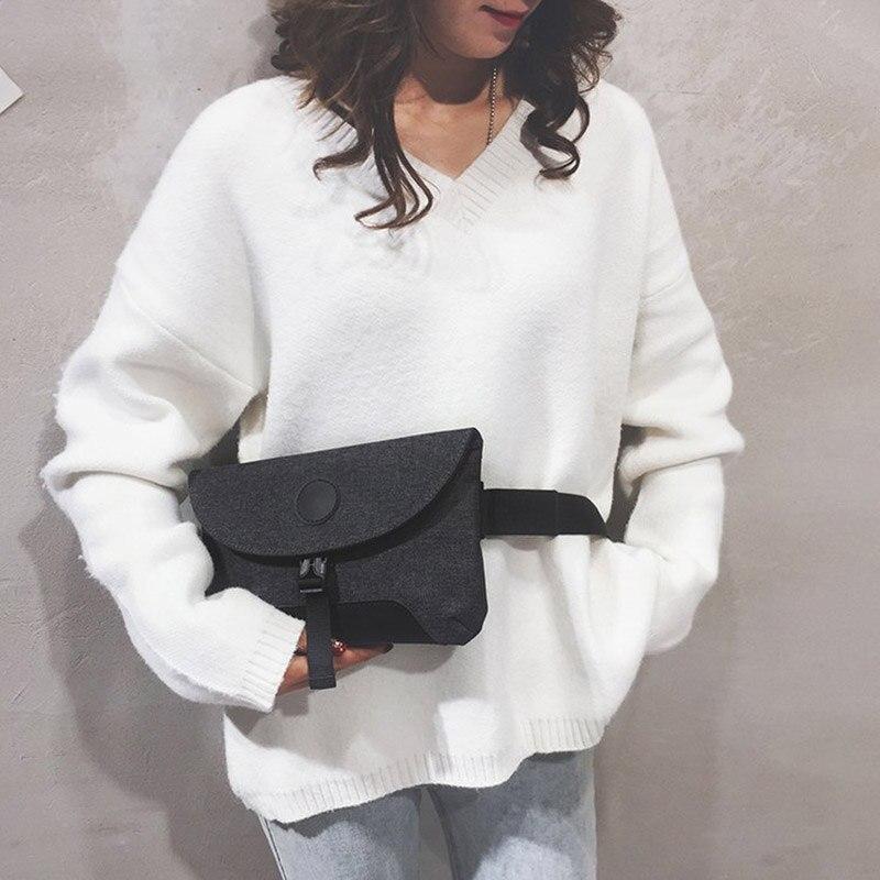 Women Flip Waist Bag Female Solid Color Water Repellent Belt Bag  Short Travel Shoulder Messenger Bag Chest Bag Hip Bag Clutch