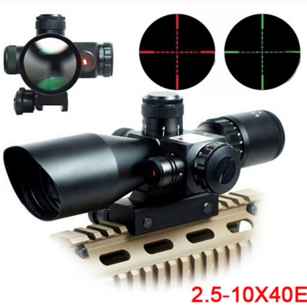 Mil-Dot Reticle Sight Scope Hunting Riflescope 2.5-10 X 40E Times Zoom Laser Illuminated Tactical Rifle Scope 20mm Rail Mounts