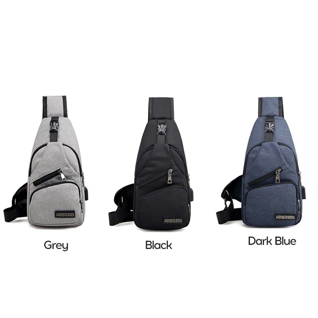 Men s Shoulder Bag Canvas USB Charging Sports Crossbody Men Chest Bag USB Charge Large Capacity Adjustable Outdoor Crossbody Bag