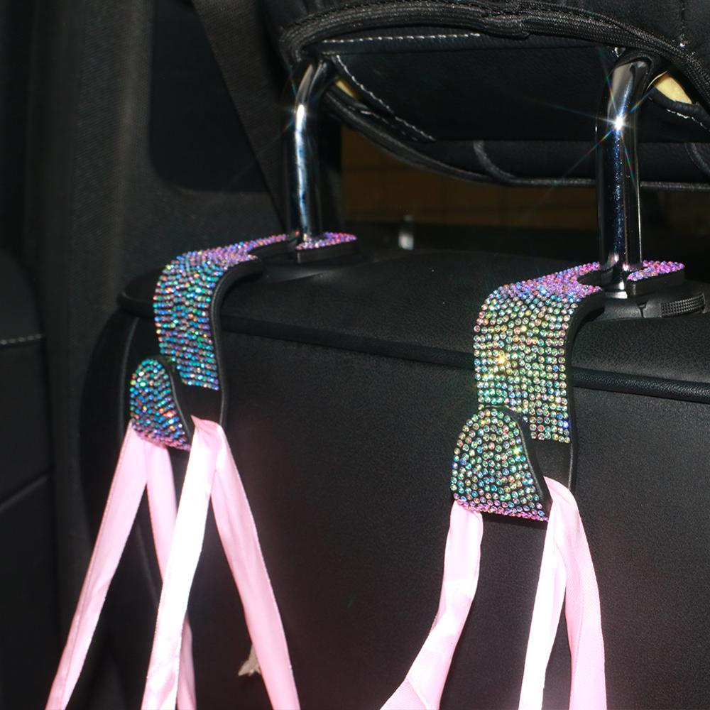 2pcs Car Seat Back Hooks Rhinestone Auto Organizer For Handbags Coats  Sparkling Bling Accessories