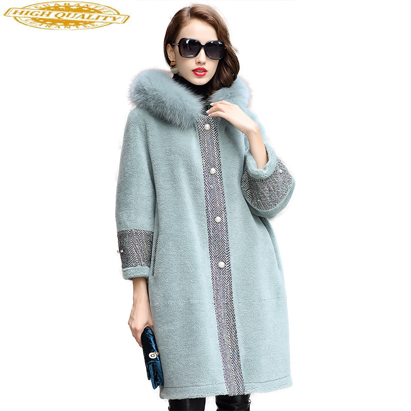 2020 Real Wool Fur Coat Female Long Sheep Shearling Jacket Women Thick Warm Winter Coats Natural Fox Fur Hooded 18187
