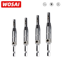WOSAI 4 Uds bisagra autocentrado de Hardware broca de 5/64, 7/64, 9/64, 11/64 HSS madera herramienta agujero VI