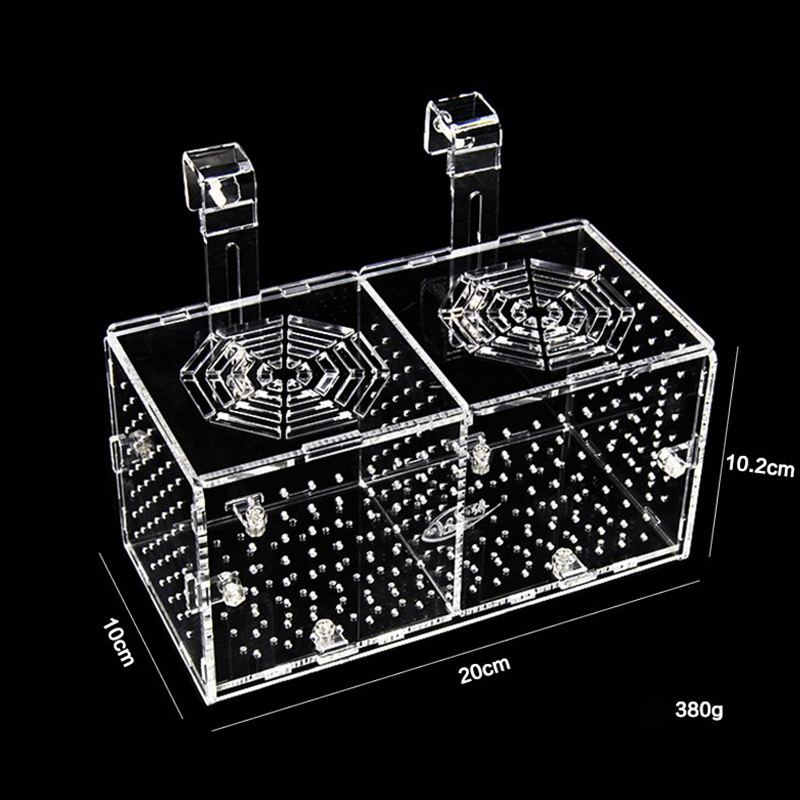 Acrylic Fry Isolation Box Plexiglass Small Fish Breeding Box Transparent <font><b>Round</b></font> Hole <font><b>Aquarium</b></font> 20x10x10cm image
