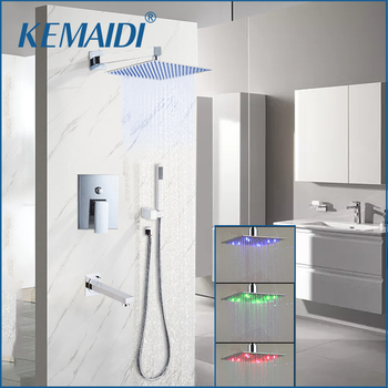 цена на KEMAIDI Bathroom Wall Mounted 8 Rain Shower Head Valve Mixer Tap W/ Hand Chrome Shower Rainfall  Shower Mixer Faucet Set