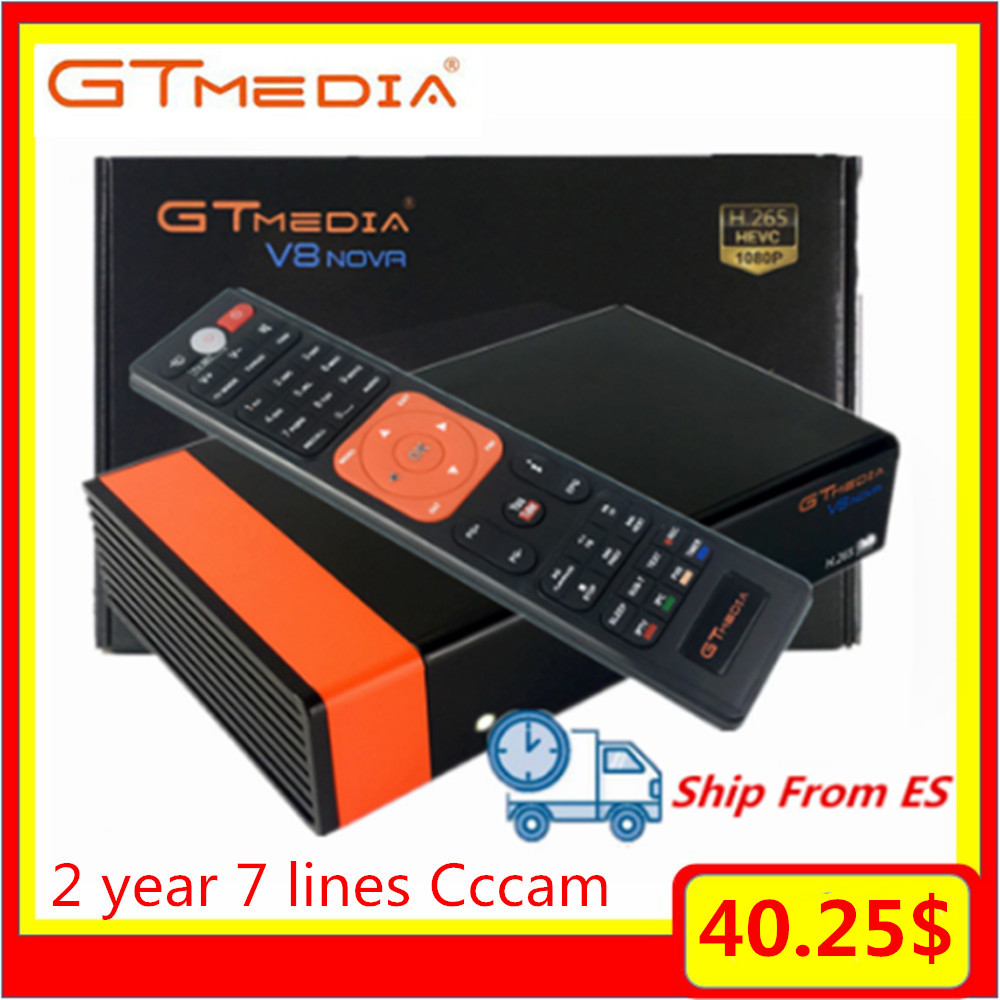 Gtmedia V8 Nova H.265/HEVC Super Satellite TV Receiver Decoder With 2 Year Europe Server 7 Lines Spain Special 2/3 Day Fast Ship