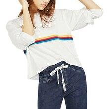 Cropped Rainbow Striped Long Sleeve Sweatshirt Women Retro Pullovers Streetwear Ariana Grande Blackpink Bangtan Harajuku Hooded