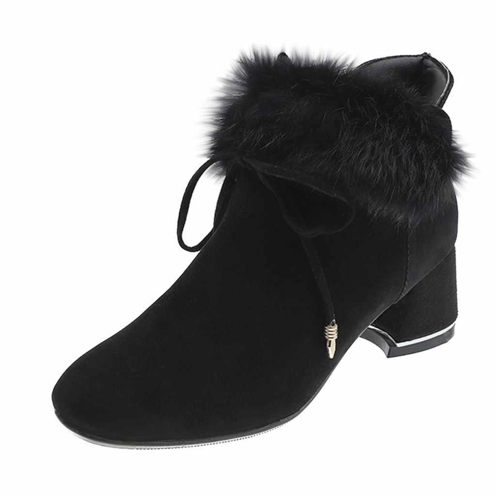 Botas de tornozelo de moda feminina para inverno de pele de pelúcia manter quente med arco nó dedo do pé quadrado elegante hoof calcanhar zip botas botas mujer